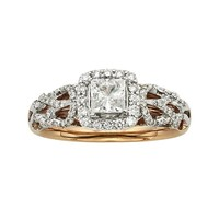 Diamonds & Lace Princess-Cut IGL Certified Diamond Halo Engagement Ring in 14k Rose Gold & 14k White Gold (1 ct. T.W.)