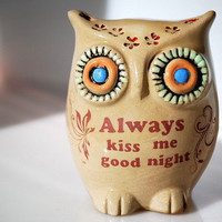 owl always kiss me good night home decor by claylicious on Etsy