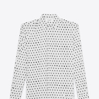SAINT LAURENT WHITE AND BLACK LIPSTICK DOT YVES COLLAR SHIRT | YSL.COM