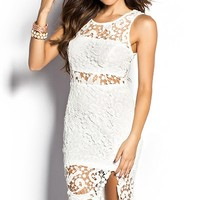 Tamara White Sheer Cut Out Crochet Lace Sheath Dress