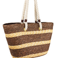 Brown & Tan Straw Tote