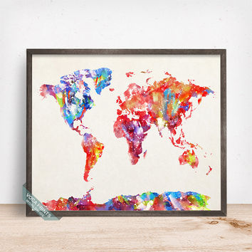 World Map Print, Watercolor World Map, World Map Poster, Wall Art, Home Decor, Office Wall Art, Dorm Decorations, Mothers Day Gift