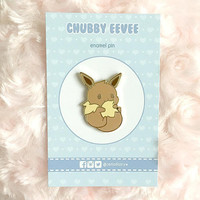 Cute Chubby Eevee Eeveelution Kawaii Fox Animal Pokemon Hard Enamel Pin Lapel Pin