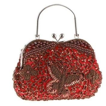 Women Beaded Decorated Handmade Flower Embroidery Evening Bag Clutch
