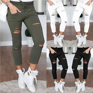 Womens Ladies Ripped Skinny Denim Jeans Cut High Waisted Jegging Trousers Skinny High Waist Stretch Ripped Slim Pencil Pants W2