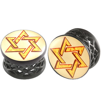 Shield Of David Logo Double-Flared Plug [Gauge: 11/16 inch - 18mm] Alloy (Black) // Set of 2