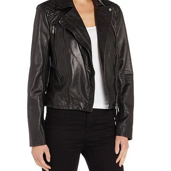 Vintage Effect Leather Jacket