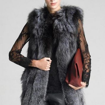 High Quality Fur Vest Coat Luxury Faux Fox Warm Women Coat Vests Winter Fashion Furs Women Coats Jacket Gilet Veste S - 6xl