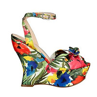 Jobina Floral-Print Wedges at Guess