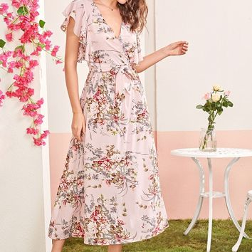 Floral Print Surplice Neck Flutter Sleeve Belted Dress