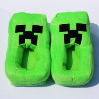 2014 Minecraft JJ winter warm men women adults boys girls christmas free size thicken slippers indoor plush shoes