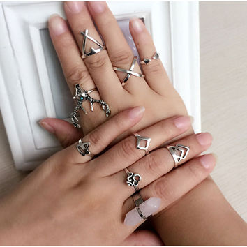 Antique Silver Plated Turkish Vintage Knuckle Joint 9 Piece Ring Set