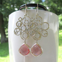 Silver Swirl Statement Earrings with Pink Jewels - Large Silver Dangle Earrings - Swirl Earrings - Bubble Earrings