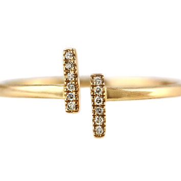 0.04ct Pavé Diamonds in 14K Yellow Gold Double Bar T Cuff Ring