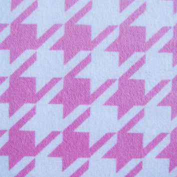 Pink and White Houndstooth Flannel Fabric, 1 Yard, more yardage available