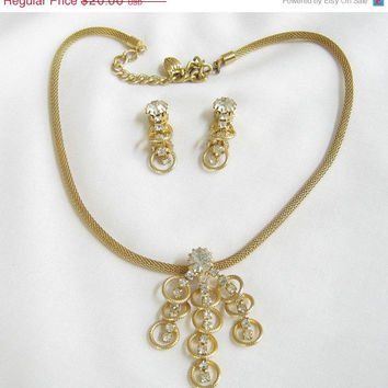 Vintage Mesh Chain and Clear Rhinestone Dangle Necklace and Clip Earrings Demi Parure Set