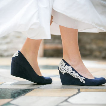 Wedding Shoes - Navy Blue Wedges, Bridal Heels with Ivory Lace. US Size 9