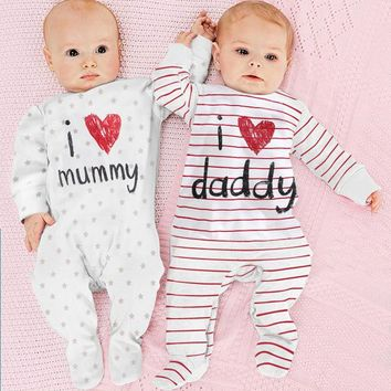 baby rompers 2016 Newborn I love mummy & daddy Baby Costume Girls Boy Jumpsuit clothing Winter Romper Body BABY CLOTHES Bebes