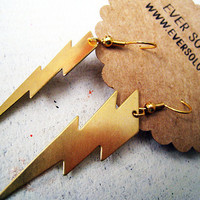 High Voltage Gold Lightning Earrings by EverSoLovely