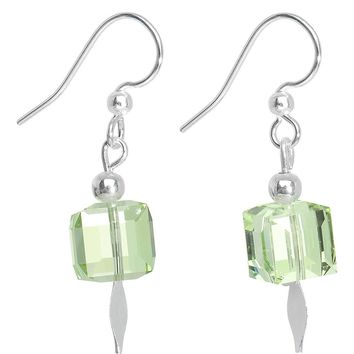 Mint Green Crystal Cube Dangle Earrings MADE WITH SWAROVSKI ELEMENTS