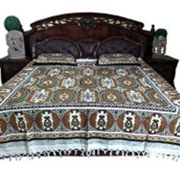 Bohemian Hippie Tapestry Bedspread- India Inspired Bedding Brown Green Paisley Cotton Bedcover | Mogul Interior