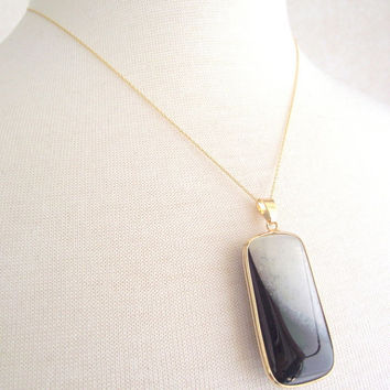 Luxurious Black and White Agate Necklace, Black Rectangular Pendant, 14kt Gold Necklace, 18 inch Gold Chain, Long Black Pendant