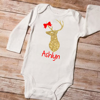 Christmas Deer, Baby first Christmas, DIY Iron on, Reindeer, Holiday outfit idea, Deer Head, Iron on name, Christmas gift