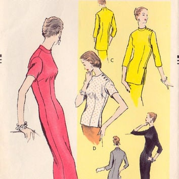 "1950s Misses Slim Dress, Wiggle Dress or Tunic Vintage Sewing Pattern, Vogue 8802 bust 32"" uncut"