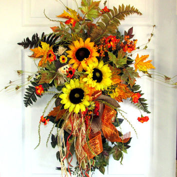 Fall wreath, autumn wreath, Fall door bouquet, designer wreaths, fall decor, Thanksgiving decor, fall swag, floral door swag, sunflowers