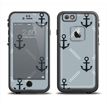 The Navy & Gray Vintage Solid Color Anchor Linked Skin Set for the Apple iPhone 6 LifeProof Fre Case