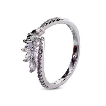 Swarovski carat Classic leaf and horse eye pt950 logo High 2018 New ring Serpenti ring AAAA diamond drill hollowed out S925 Sterling Silver