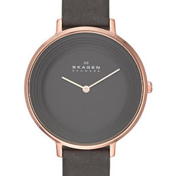 Skagen Womens Ditte Dress Watch - Rose Gold-Tone - Charcoal Dial - Leather Strap