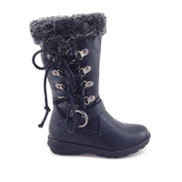 Black Vegan Leather Boot with Faux Fur for Girls