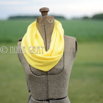 Adult Infinity - Solid Neon Yellow Infinity Scarf - Looped Scarf - Knit Scarf