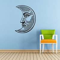 Sun Wall Decal Moon Crescent Ethnical Stars Symbol Wall Decals Vinyl Sticker Home Interior Wall Decor for Any Room Housewares Mural Design Graphic Bedroom Wall Decal Bathroom (5873)