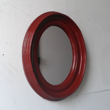 Oval Wall Mirror in Oxblood Red Antique Wood Frame