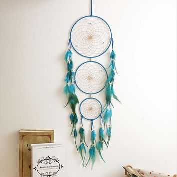 Indian Blue Dream Catcher Net with Feathers Wall Hanging Decoration Handmade Dreamcatcher Craft Gift Mascot Ornament
