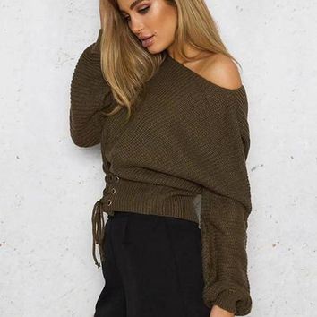 Oversized Pullover Corset Lace Knit Sweater