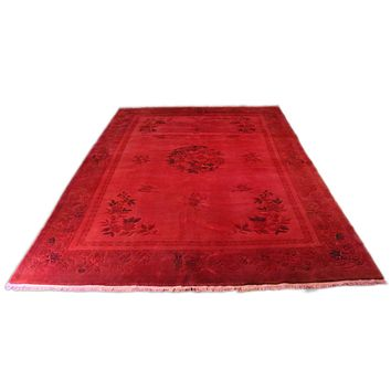 10x14 Chinese Deco Over-Dyed Rug Red Living Room Size Carpet 2603