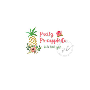 Premade logo, Logo design, Boutique logo, Blog Header, Gold Pineapple Logo, Fresh logo, Tropical Logo, Floral Logo
