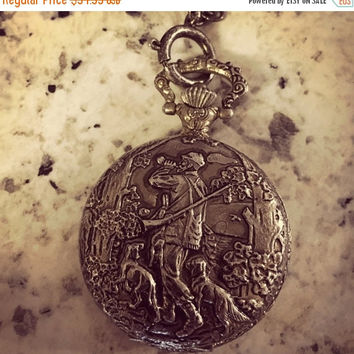 5 DAY SALE (Ends Soon) Vintage Churchill  Antimagnetic Silvertone Fox Hunter Scene Metal Pocket Watch RARE High Quality!