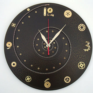 Steampunk wall clock Time Spiral, steampunk clocks, modern wall clocks, unusual wall clocks, black wall clock, steampunk style, gift for men