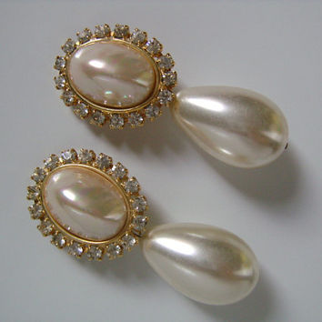 Fantastic HUGE Brilliant Luster Baroque Faux Pearl Crystal Rhinestone Accented Fancy Glamorous Hollywood Regency Teardrop Dangle Earrings GT