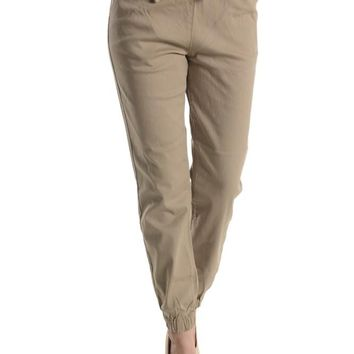 Women's Solid Twill Jogger Pants RJJ156 - C4C