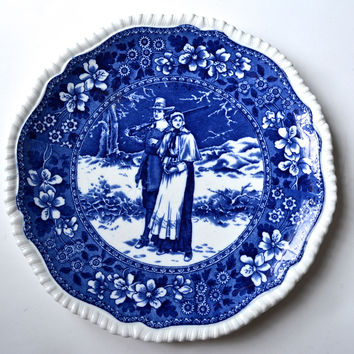 Antique Blue Toile Copeland Late Spode  Transferware Plate Pilgrim Couple / John Priscilla Alden Tower Border