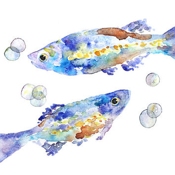 Whimsical, bathroom decor, kids bathroom art, fish, Watercolor PRINT, colorful, Print of Watercolor Painting