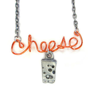 Orange Cheese Necklace Funny Wire Word Jewelry
