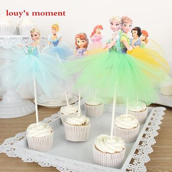 Free Shipping 4 X Handmade Princess Cupcake Toppers Girls Birthday Party Decoration Supply Mermaid/Cinderella/Tiana Cake Toppers