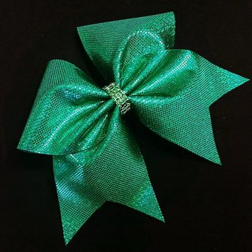 Green cheer bow, Cheer bow, cheerleading bow, cheerleader bow, cheer bows, softball bow, cheerbow,large cheer bow, hair bow, shattered glass