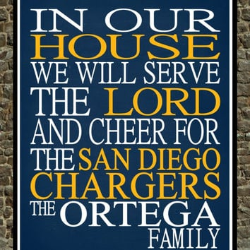 Customized Name San Diego Chargers NFL football personalized family print poster Christian gift sports wall art - multiple sizes